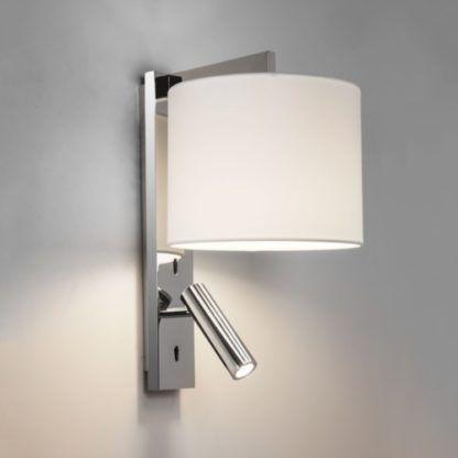 srebrny kinkit z dodatkowym reflektorem pod abażurem, nowoczesny, funkcjonalny