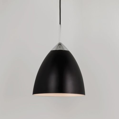 czarna, nowoczesna lampa wisząca ze srebrnymi detalami, rozszerzany klosz