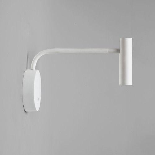 biały kinkiet na wysięgniku, z białym reflektorem mobilnym, nowoczesny design