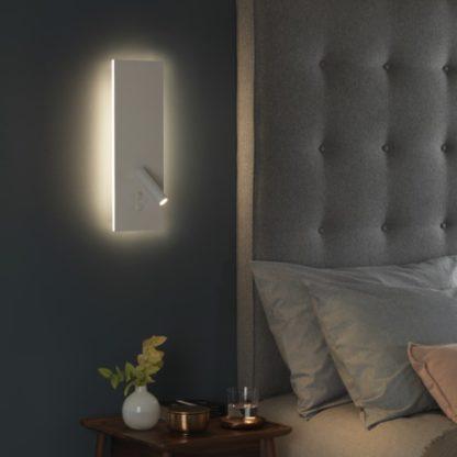 biały reflektor z pionową podstawą oświetloną światłem LED, reflektor do czytania, światło nocne