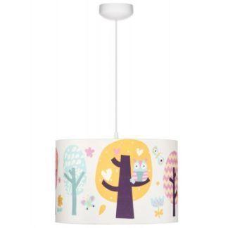 Lampa wisząca Sowie Opowieści - biały abażur z kolorowym motywem