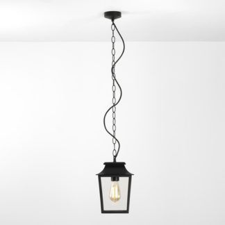 Klasyczna lampa wisząca Richmond - czarna oprawa, szklany klosz, IP23