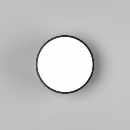 okrągły kinkiet/plafon w czarnej oprawie, odporny na wodę, do łazienki, przed drzwi wejściowe
