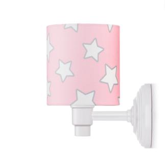 Biało-różowy kinkiet Stars - bawełniany abażur w gwiazdki