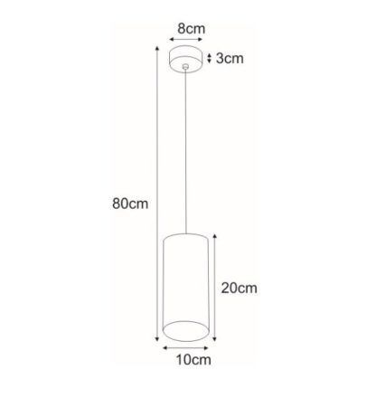 Metalowa lampa wisząca Alu - czarna tuba, nowoczesna