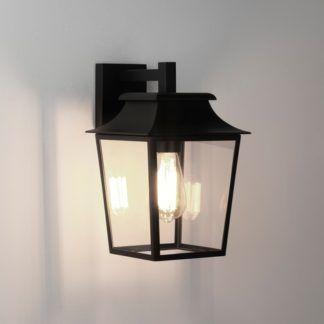 Kinkiet zewnętrzny Richmond - czarna latarnia, szklany klosz, IP23