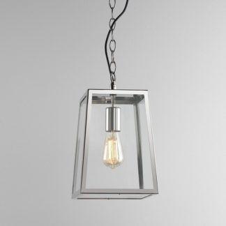Szklana lampa wisząca Calvi - transparentny klosz w srebrnej oprawie, regulowana długość