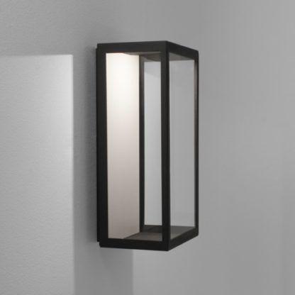 Oryginalny kinkiet Puzzle - czarna oprawa, transparentny klosz, oświetlenie LED, IP44