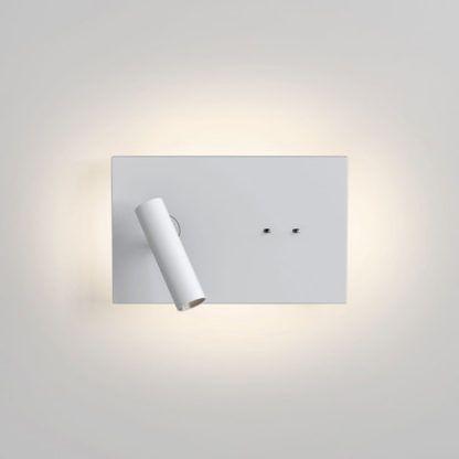 biały, nowoczesny kinkiet z dwoma włącznikami, światło nocne, kinkiet do czytania