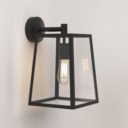 szklany kinkiet w czarnej, metalowej ramce, industrialny, retro, vintage
