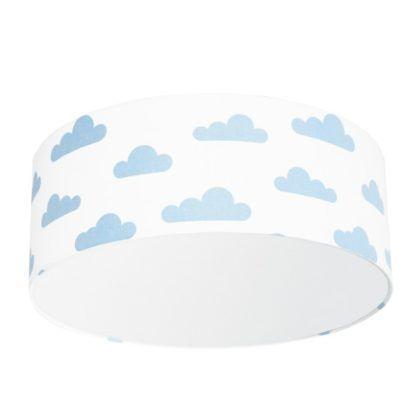 Biały plafon Young - abażur w błękitne chmurki