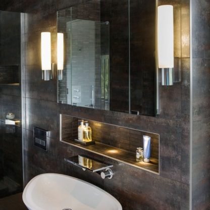 Elegancki kinkiet Kyoto 365 - łazienkowy brązowe ściany
