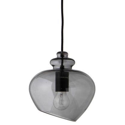 Szara lampa wisząca Grace - barwione szkło, nowoczesna