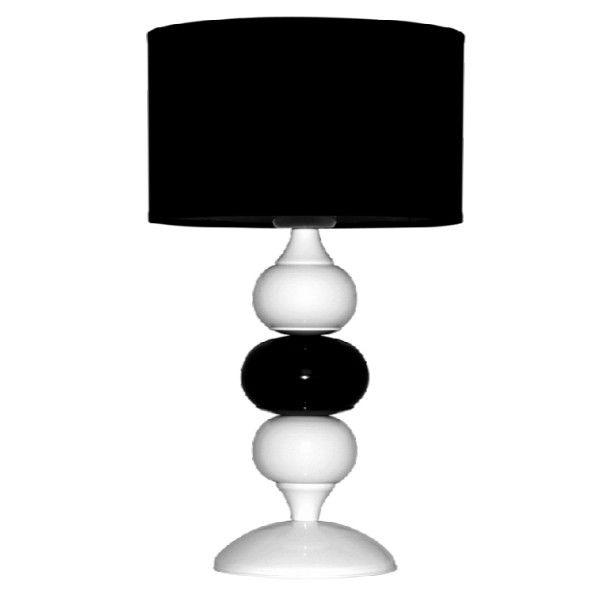 biało-czarna lampa stołowa z abażurem