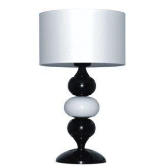 Nowoczesna lampa stołowa Ibis - biało-czarna podstawa, biały klosz