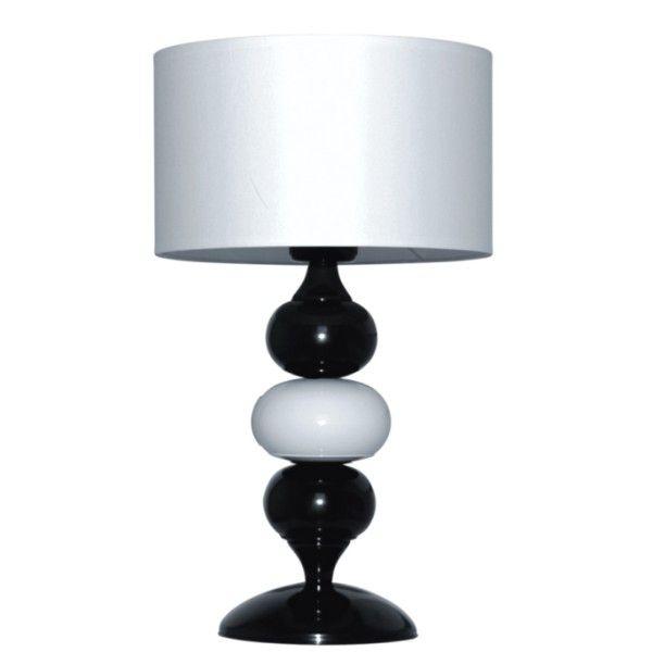 biało-czarna lampa stołowa, podstawa z kul, biały abażur