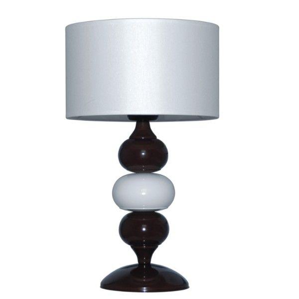 biało-brązowa lampa stołowa z białym abażurem