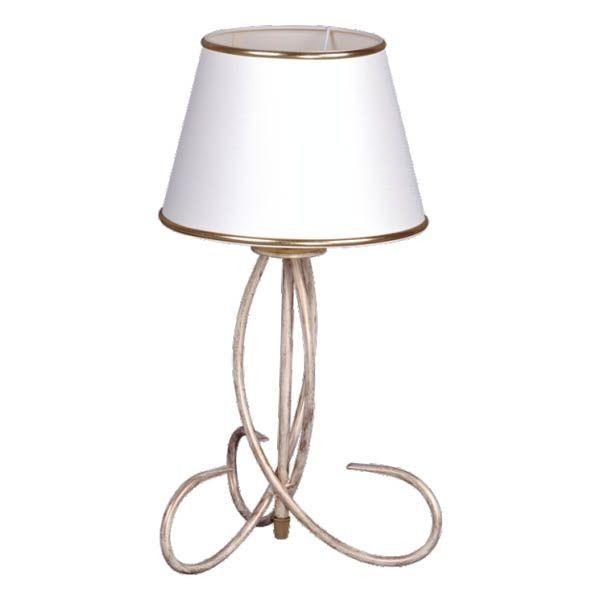 klasyczna lampa stołowa, złota, metalowa podstawa, biały abażur