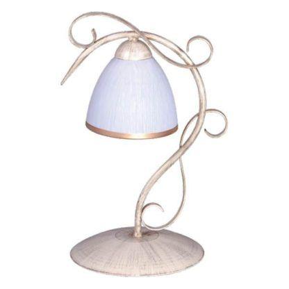 złota lampa stołowa z białym, szklanym kloszem