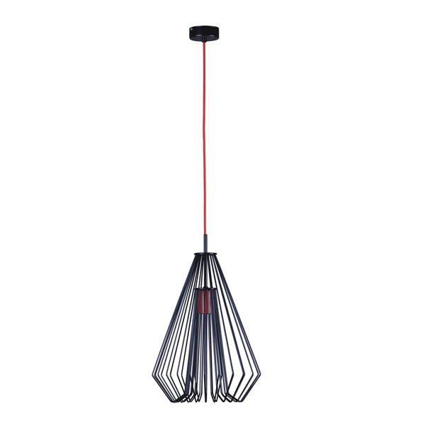 geometryczna druciana lampa z czerwonymi detalami
