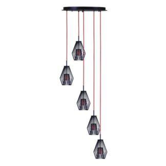 Czarna lampa wisząca Calvin - czerwone zawieszenie, styl nowoczesny