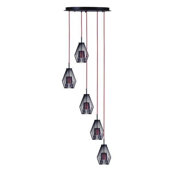 okrągła lampa wisząca z metalowymi, czarnymi kloszami na czerwonym zawieszeniu