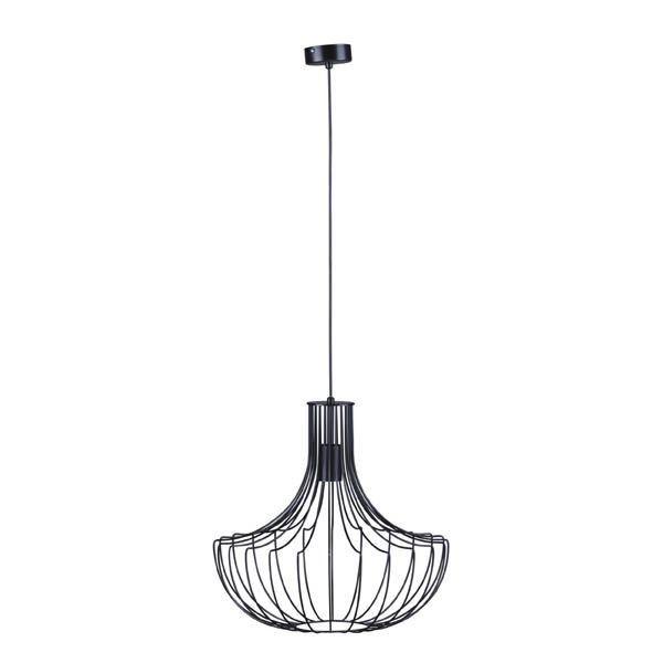 czarna, druciana lampa wisząca, skandynawska