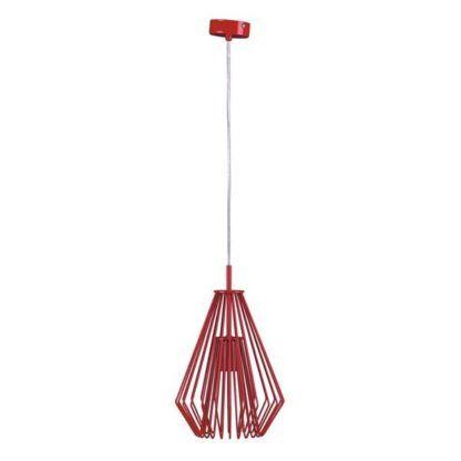 lampa wisząca z czerwonego drutu, nowoczesna