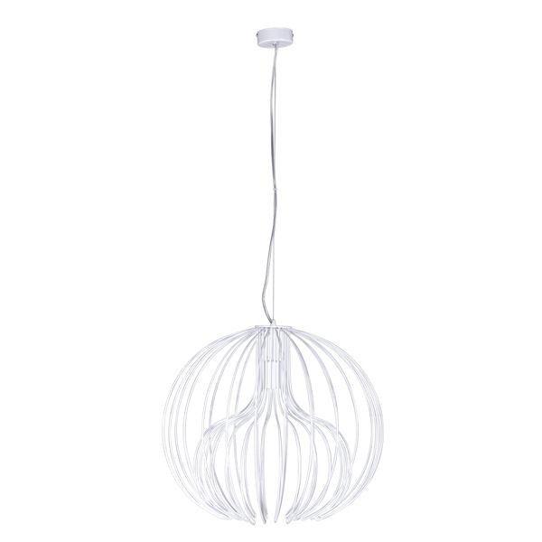 biała lampa wisząca, druciany klosz