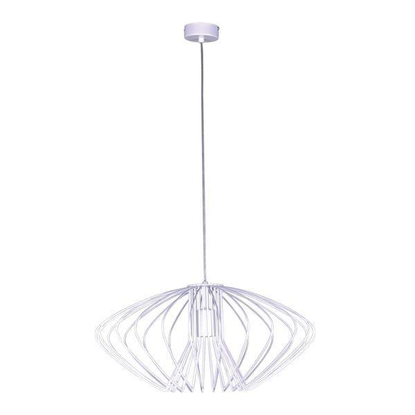 lampa wisząca z drucianym, białym kloszem, lekko spłaszczona