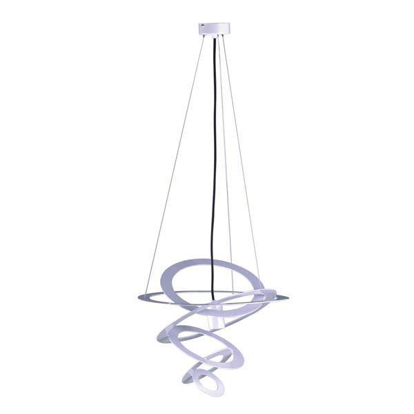 designerska lampa wisząca, klosz z białym, metalowych okręgów, czarne zawieszenie