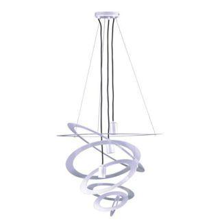 Biała lampa wisząca Korfu - duży klosz, metalowe okręgi