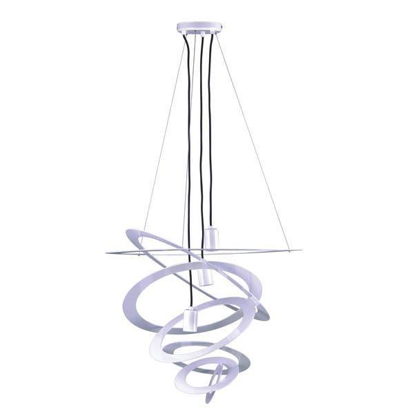 duża lampa wisząca w futurystycznym stylu, białe okręgi