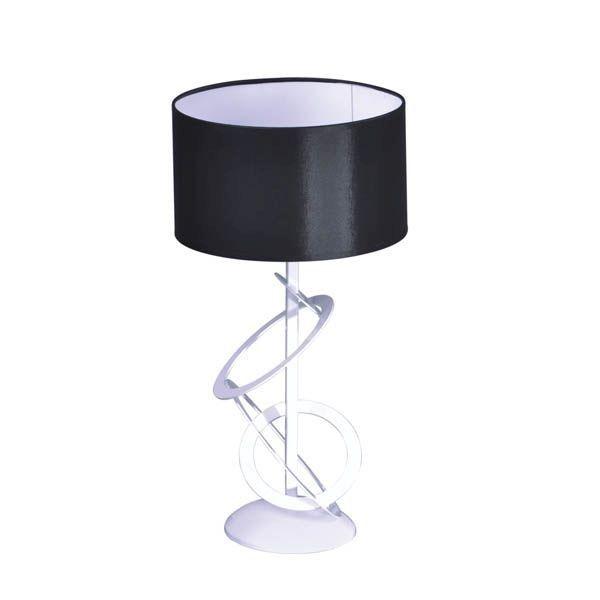 nowoczesna lampa wisząca, biała podstawa z metalowych okręgów i czarny abażur