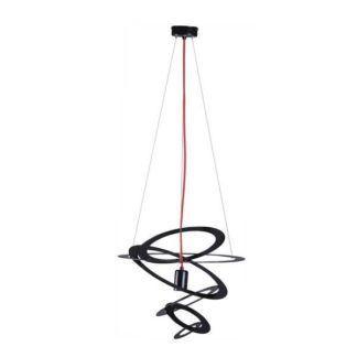 Designerska lampa wisząca Korfu - czarne okręgi, czerwony przewód
