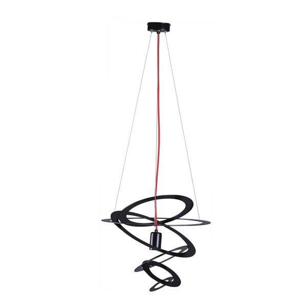 czarna lampa wisząca w nowoczesnym stylu, czerwone zawieszenie