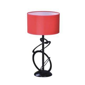 Oryginalna lampa stołowa Korfu - czerowny abażur, czarna podstawa z pierścieni