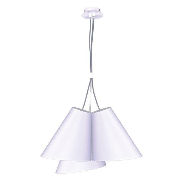 lampa wisząca z trzema asymetrycznymi kloszami, biała