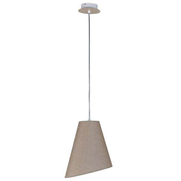 beżowo-szara lampa wisząca z abażurem, styl nowoczesny