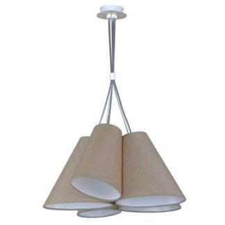 Nowoczesna lampa wisząca Argos Wood - beżowe klosze