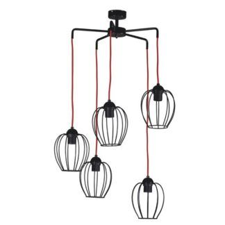 Industrialna lampa wisząca Arda - czarne klosze, czerwone zawieszenie