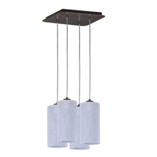 Biała lampa wisząca Simple - cztery abażury na planie kwadratu, nowoczesna