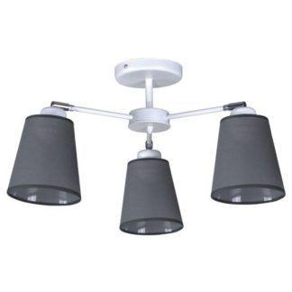 Nowoczesna lampa sufitowa Filton - szare abażury, biała baza
