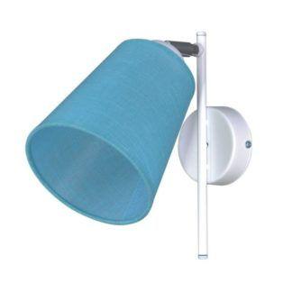 Biały kinkiet Filton - niebieski abażur, biała podstawa