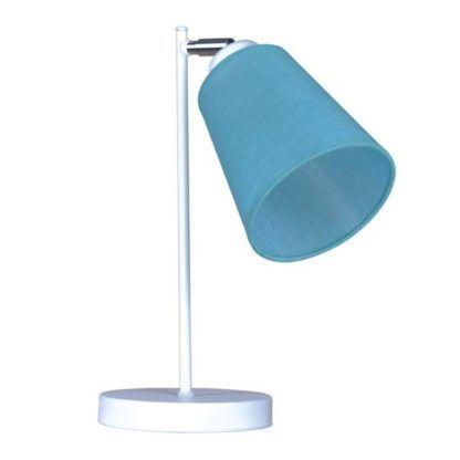 biała lampka nocna z niebieskim abażurem, do pokoju chłopca