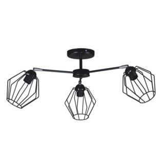 Czarna lampa sufitowa Benet - trzy druciane klosze
