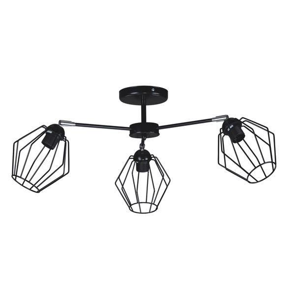 lampa sufitowa z czarnymi, drucianymi kloszami, industrialna