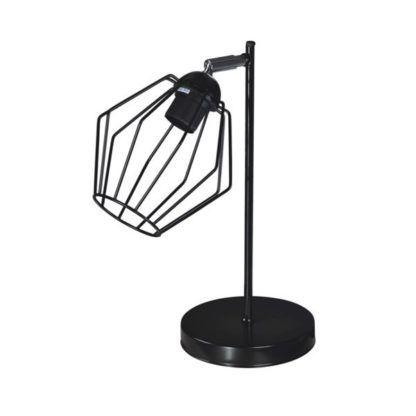 druciana, czarna lampa stołowa do wnętrz skandynawskich i industrialnych
