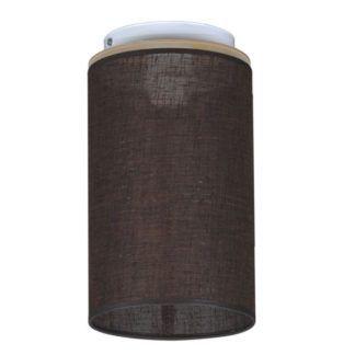 Brązowa lampa sufitowa Aida - materiałowy abażur, tuba