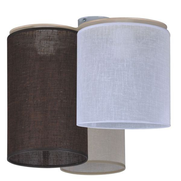 lampa wisząca z abażurami w odcieniach brązu i beżu, trzy wysokości